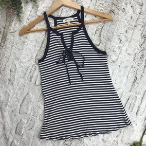 [Monteau] Ribbed Striped Tank Top Size L Large